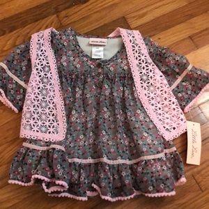 Little Lass floral top with vest